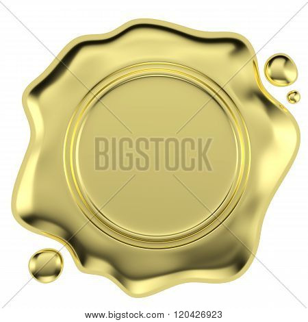 Golden Wax Seal Isolated On White