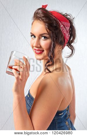 Young Woman With Glass