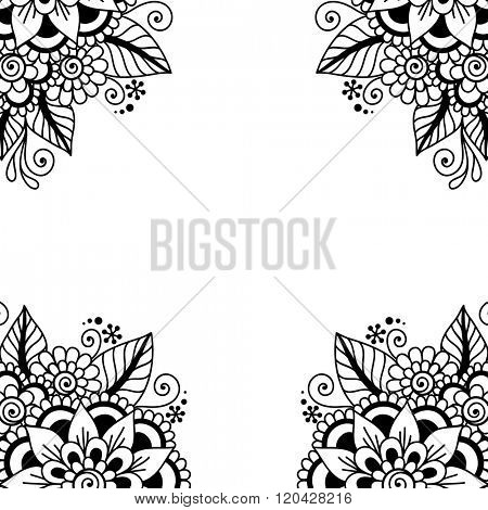 Black flower frame, lace ornament.