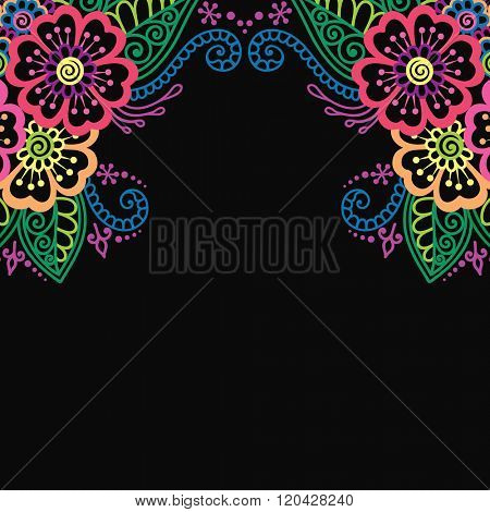 Henna flower vector ornament frame. Black frame with colorful flowers, lace ornament. Henna style.