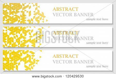 Vector banners with abstract multicolored polygonal mosaic background.