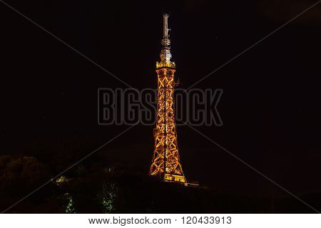 The Tv Tower In Lyon, France At Night