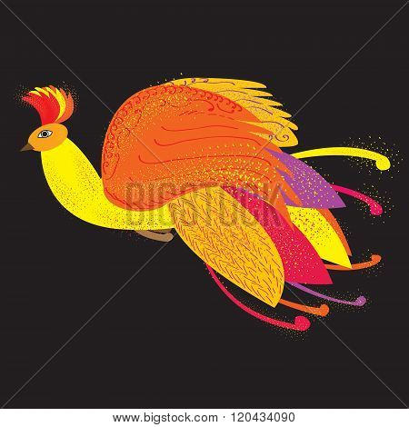 The Phoenix Bird As A Symbol Of Rebirth, Vector Illustration, The Firebird From Russian Fairy Tales