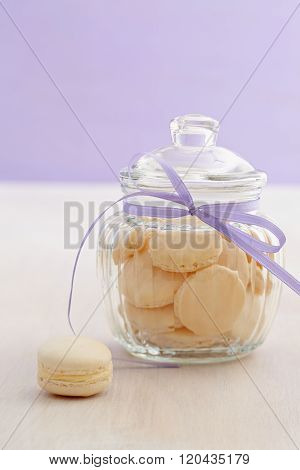 White macarons with buttercream filling
