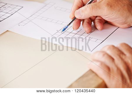 Hand of senior man with pen solving crossword puzzle for memory training