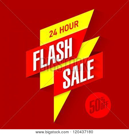 24 hour Flash Sale bright banner. Vector illustration.