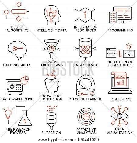 ctor set of 16 icons: data management, analytic service - part 2