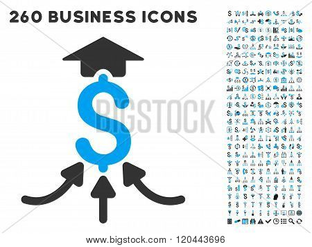 Financial Aggregator Icon with Flat Glyph Set