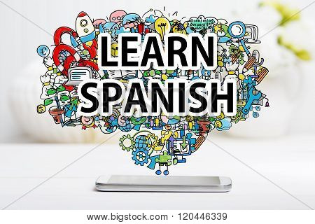 Learn Spanish Concept With Smartphone