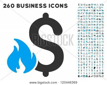 Financial Fire Icon with Flat Vector Set