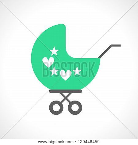Illustration of baby pram icon isolated on white background