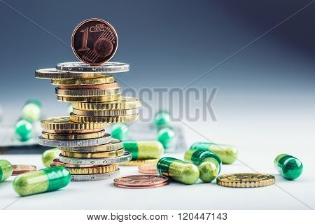 Euro money and medicaments. Euro coins and pills. Coins stacked on each other in different positions