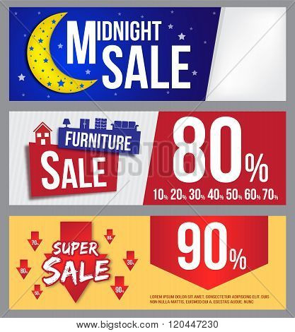 midnight sale, furniture sale and super sale banner for commercial