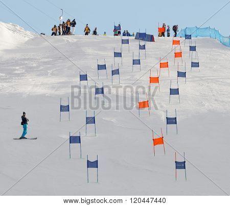 Slalom Slope With Colorful Orange And Blue Gates