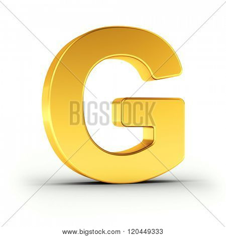 The Letter G as a polished golden object over white background with clipping path for quick and accurate isolation.