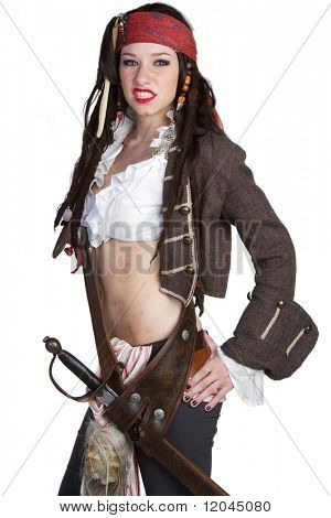 Woman wearing pirate halloween costume