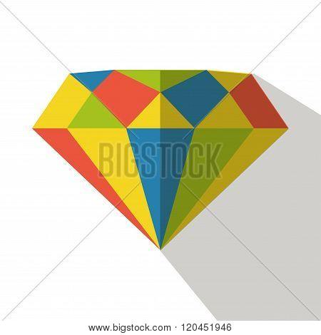 Diamond icon vector flat isolated jewelry logo