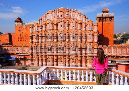 Hawa Mahal - Palace of the Winds in Jaipur Rajasthan India. It was designed by Lal Chand Ustad in the form of the crown of Krishna the Hindu god.