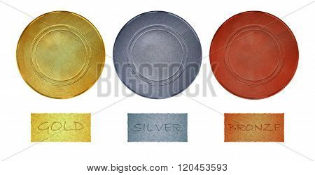 Blank vector vintage template for coins or medals with the old antique gold silver bronze metal text