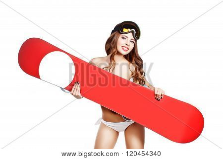 Sports Topless Girl In Bikini With Makeup Hold Snowboard Near Breast. Place For Logo. Studio Isolate