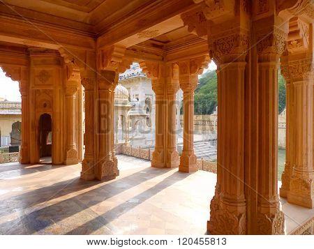 Carved Pillars In Royal Cenotaphs In Jaipur, Rajasthan, India