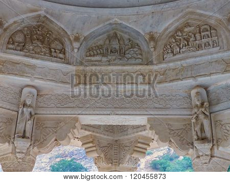 Detail Of The Carved Dome At Royal Cenotaphs In Jaipur, Rajasthan, India