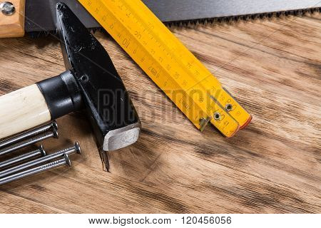 tools on wooden table.