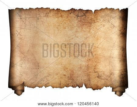 old treasure map roll isolated on white