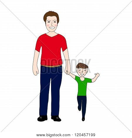Happy Dad Holding Baby Son By The Hand