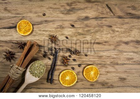 spices on wooden table
