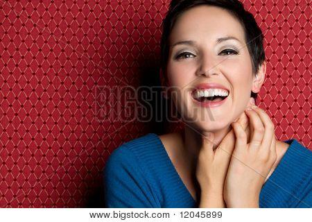 Schöne, lächelnd, lachend, junge Frau
