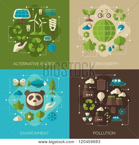 Environmental Protection Ecology Concept Square Banners Set In