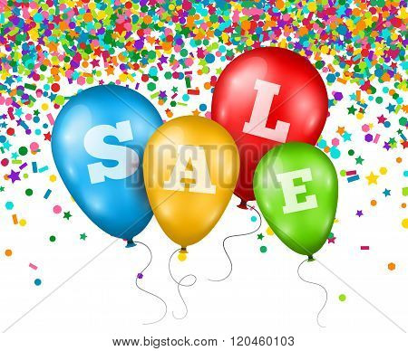 Balloons with Sale letters on Confetti Background