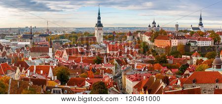 Aerial panorama of Old town with Town hall and Toompea hill, view from the tower of St. Olaf church, Tallinn, Estonia poster