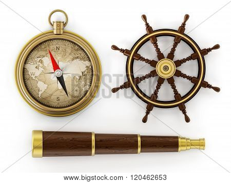 Vintage telescope ship wheel and compass isolated on white background poster