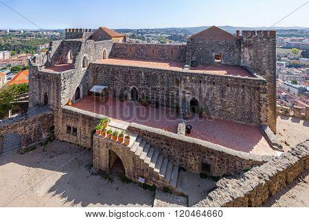 View of the exterior of the Gothic Royal Palatial Residence (Pacos Novos) of the Leiria Caste. Leiria, Portugal.