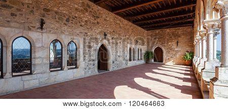 Loggia of the Gothic Palatial Residence (Pacos Novos) of the Leiria Caste. Leiria, Portugal.