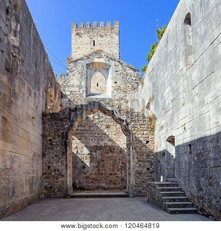 The Leiria Castle Keep seen from the ruins of the Nossa Senhora da Pena Church (aka Santa Maria da Pena). Leiria, Portugal.