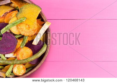 Dried Fresh Vegetable Chips For A Healthy Snack