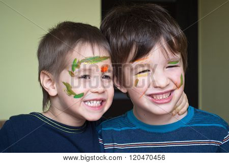 Two Children With Painted Face