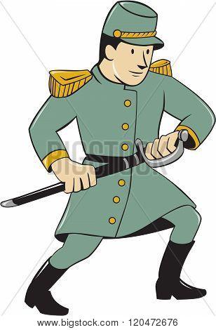 Confederate Army Soldier Drawing Sword Cartoon