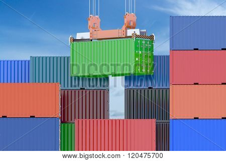 Cargo shipping concept on the blue sky