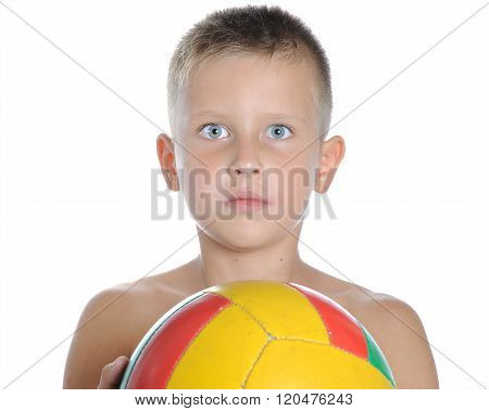 Little Cute Boy Playing Football Ball Isolated