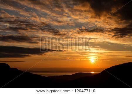 Sunset landscape near the lake Balaton of Hungary