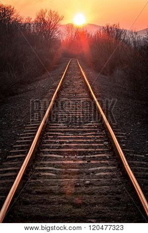 Railway in a sunset light in Hungary