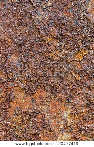 Pieces of iron containing rock close up