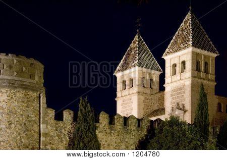 Towers Of Puerta De Bisagra At Night