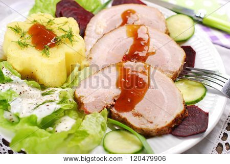Dinner With Roasted Pork And Potato