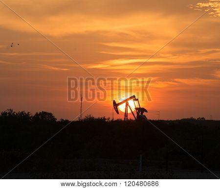 Oil Well Pumpjack Sunrise