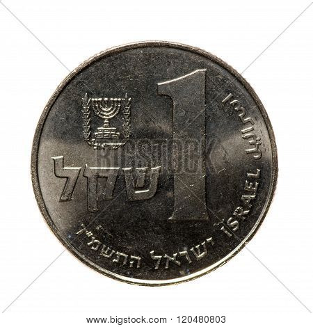 Metal Coins One Shekel Israel  Isolated On White Background